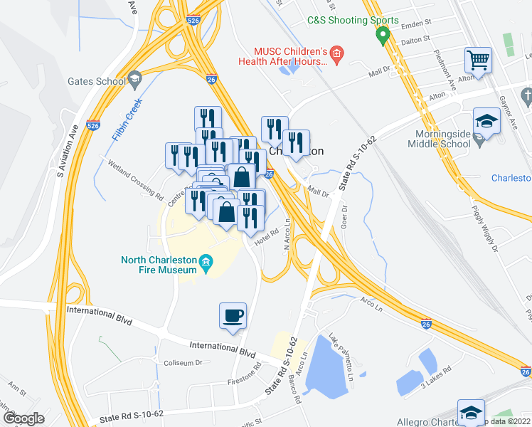map of restaurants, bars, coffee shops, grocery stores, and more near 5059 North Arco Lane in North Charleston
