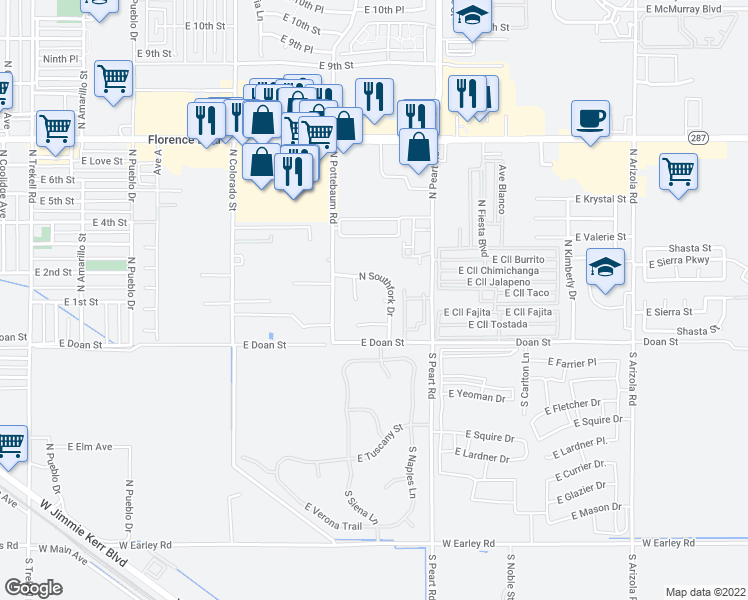 map of restaurants, bars, coffee shops, grocery stores, and more near 1440 Cody Circle in Casa Grande