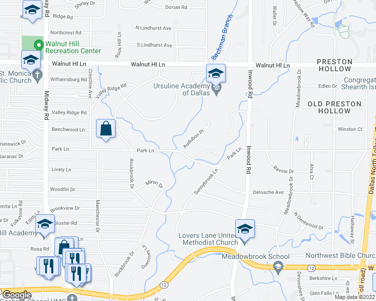 map of restaurants, bars, coffee shops, grocery stores, and more near 9700 Audubon Place in Dallas