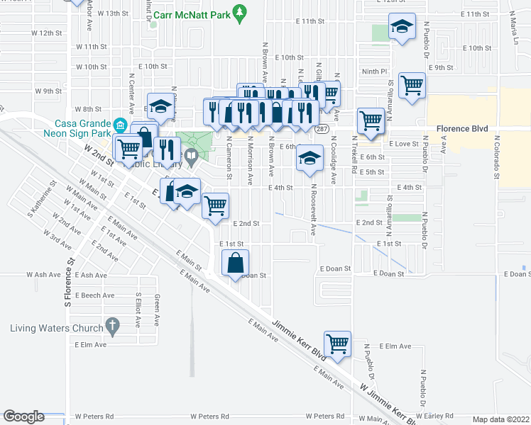 map of restaurants, bars, coffee shops, grocery stores, and more near 215 North Brown Avenue in Casa Grande
