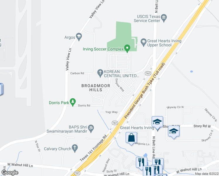 map of restaurants, bars, coffee shops, grocery stores, and more near Montego Bay Dr & Innisbrook Dr N in Irving
