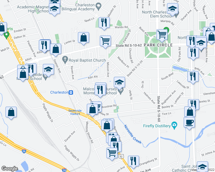 map of restaurants, bars, coffee shops, grocery stores, and more near 4501 Mixson Avenue in North Charleston