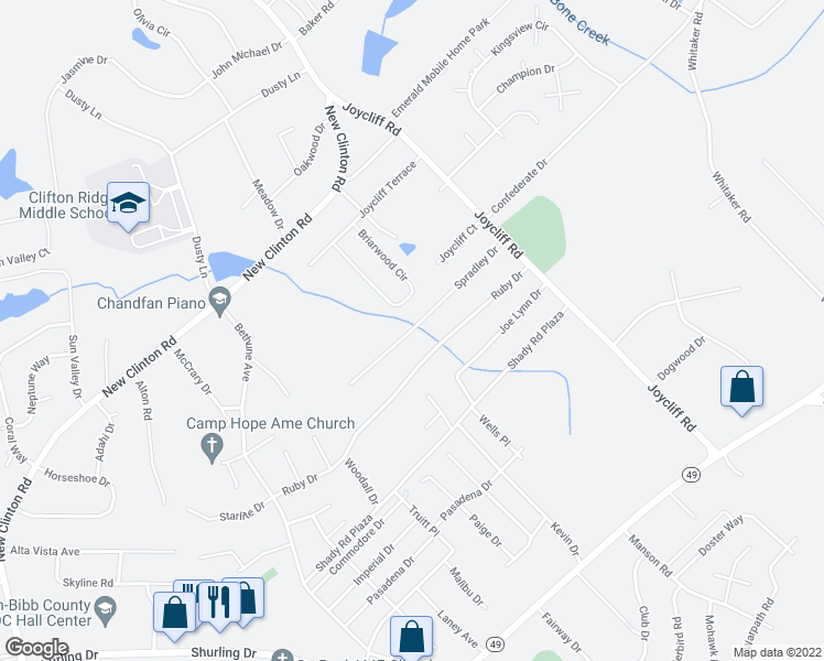 map of restaurants, bars, coffee shops, grocery stores, and more near Spradley Drive in Macon