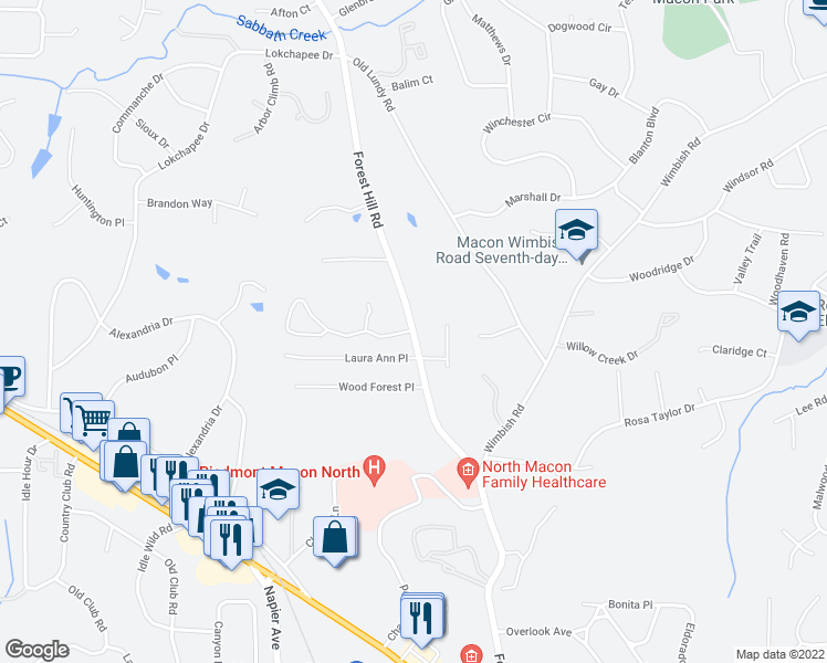 map of restaurants, bars, coffee shops, grocery stores, and more near 629 Forest Hill Road in Macon