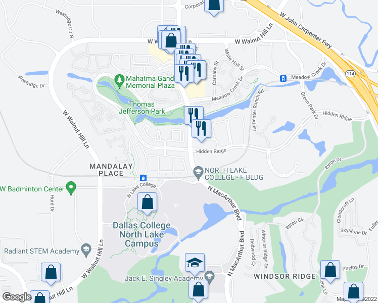 map of restaurants, bars, coffee shops, grocery stores, and more near 1045 Hidden Ridge in Irving