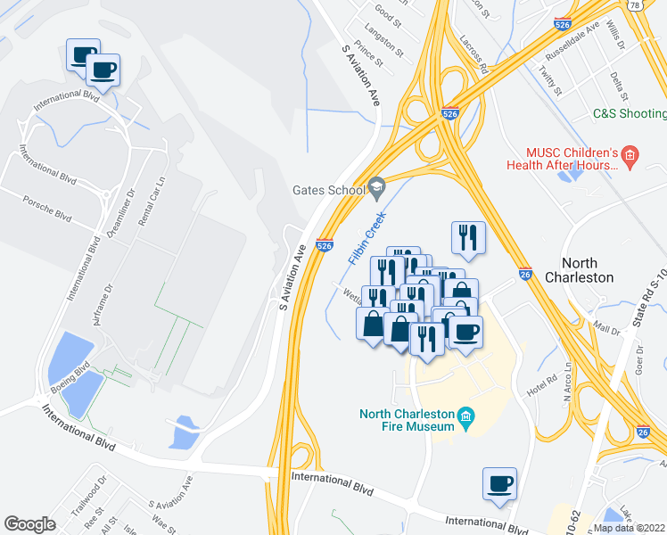 map of restaurants, bars, coffee shops, grocery stores, and more near in North Charleston