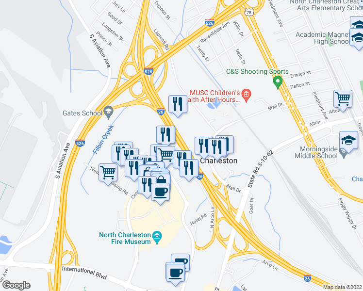 map of restaurants, bars, coffee shops, grocery stores, and more near Mark Clark Expressway in North Charleston