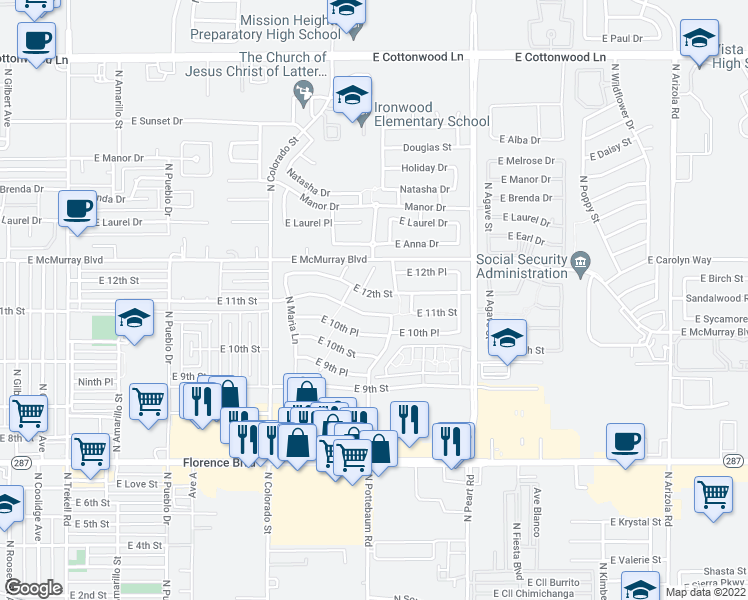 map of restaurants, bars, coffee shops, grocery stores, and more near 1385 East 12th Street in Casa Grande