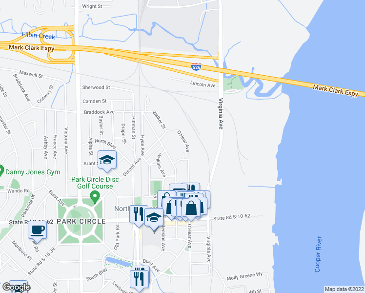 map of restaurants, bars, coffee shops, grocery stores, and more near 4993 O'Hear Avenue in North Charleston