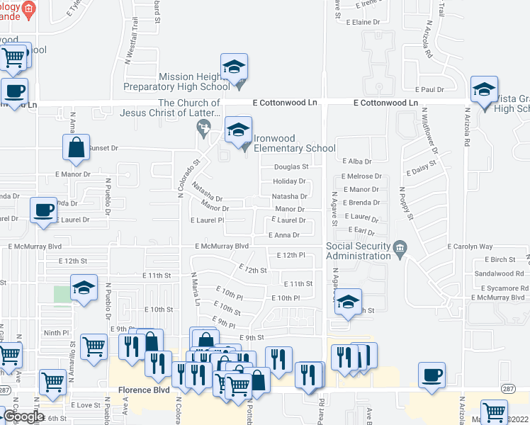 map of restaurants, bars, coffee shops, grocery stores, and more near 1418 East Laurel Drive in Casa Grande