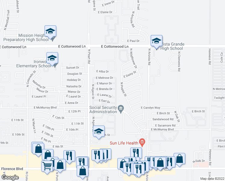 map of restaurants, bars, coffee shops, grocery stores, and more near 1583 East Brenda Drive in Casa Grande