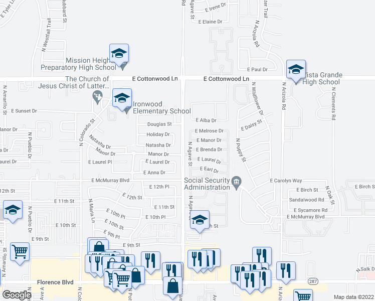 map of restaurants, bars, coffee shops, grocery stores, and more near 1457 North Agave Street in Casa Grande