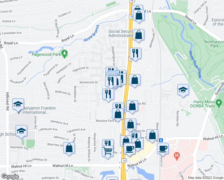 map of restaurants, bars, coffee shops, grocery stores, and more near 10455 North Central Expressway in Dallas