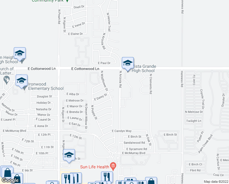 map of restaurants, bars, coffee shops, grocery stores, and more near 1681 East Daisy Court in Casa Grande