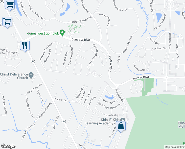 map of restaurants, bars, coffee shops, grocery stores, and more near 1378 Hopton Circle in Mount Pleasant