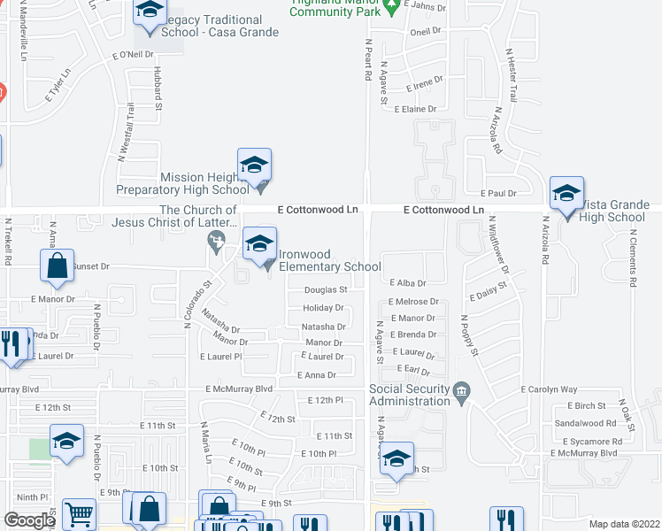 map of restaurants, bars, coffee shops, grocery stores, and more near 1460 Sunset Drive in Casa Grande