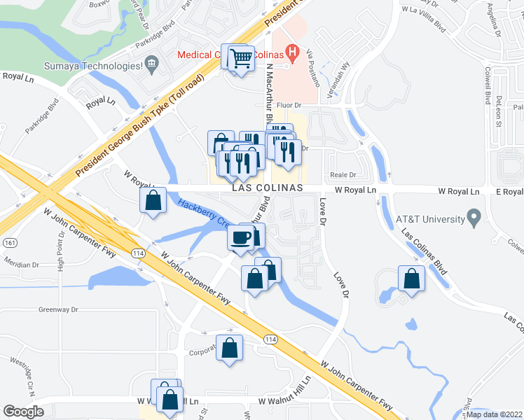 map of restaurants, bars, coffee shops, grocery stores, and more near 6306 North MacArthur Boulevard in Irving