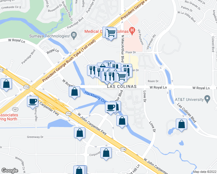 map of restaurants, bars, coffee shops, grocery stores, and more near 800 West Royal Lane in Irving
