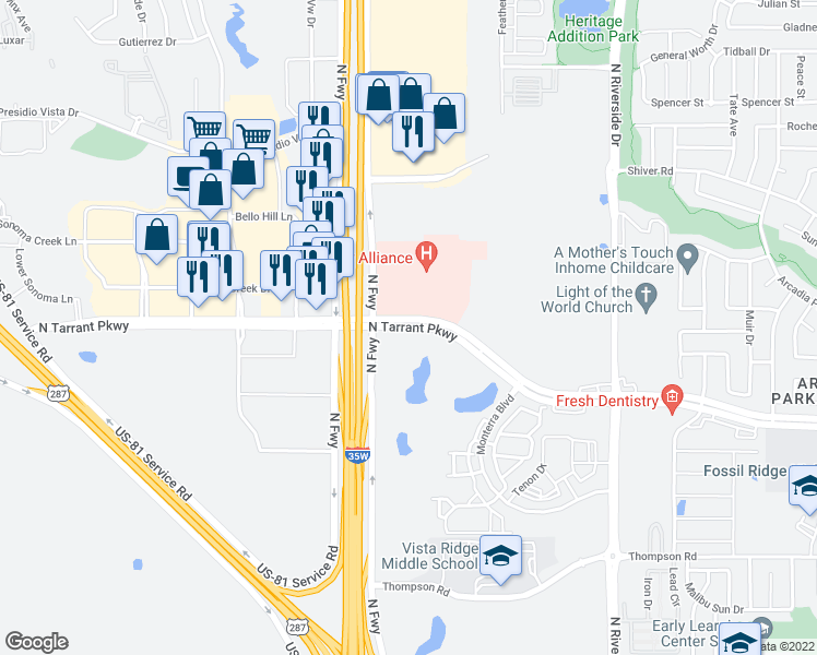 map of restaurants, bars, coffee shops, grocery stores, and more near North Tarrant Parkway in Fort Worth