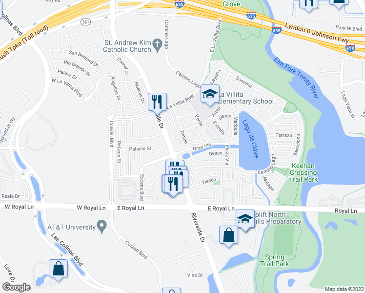 map of restaurants, bars, coffee shops, grocery stores, and more near 6727 Deseo in Irving