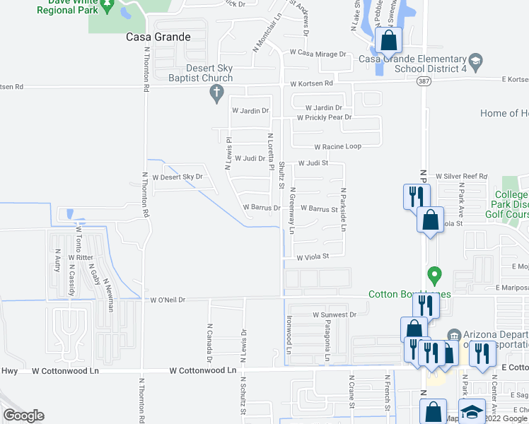 map of restaurants, bars, coffee shops, grocery stores, and more near 731 West Barrus Drive in Casa Grande