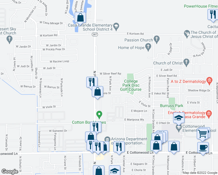 map of restaurants, bars, coffee shops, grocery stores, and more near 201 West Barrus Place in Casa Grande
