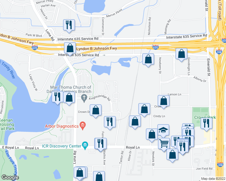 map of restaurants, bars, coffee shops, grocery stores, and more near 1901 Knightsbridge Road in Farmers Branch
