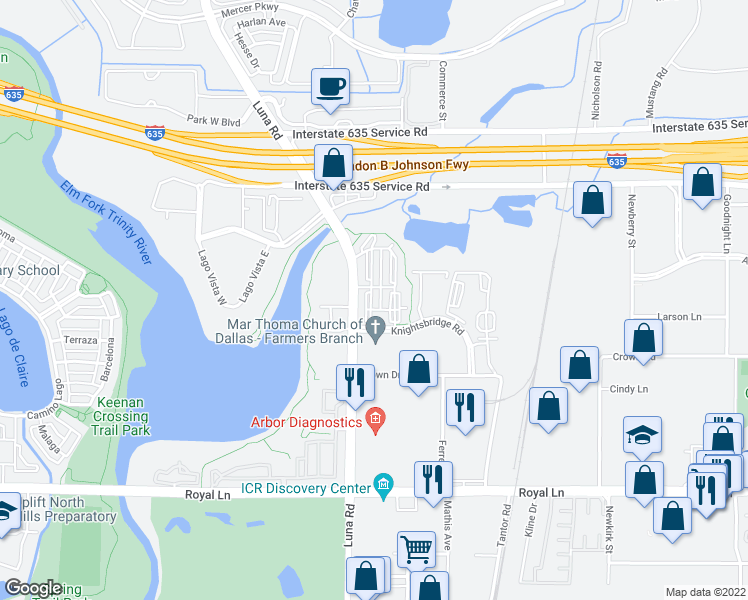 map of restaurants, bars, coffee shops, grocery stores, and more near 11700 Luna Road in Farmers Branch
