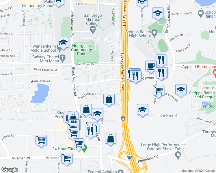 map of restaurants, bars, coffee shops, grocery stores, and more near 10121 Caminito Volar in San Diego