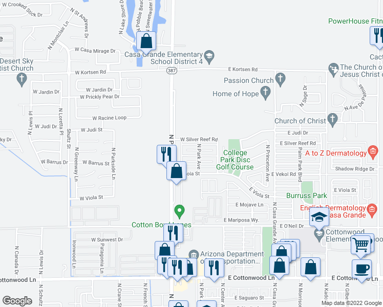 map of restaurants, bars, coffee shops, grocery stores, and more near 219 West Jahns Place in Casa Grande