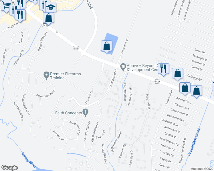 map of restaurants, bars, coffee shops, grocery stores, and more near Archdale Boulevard in North Charleston