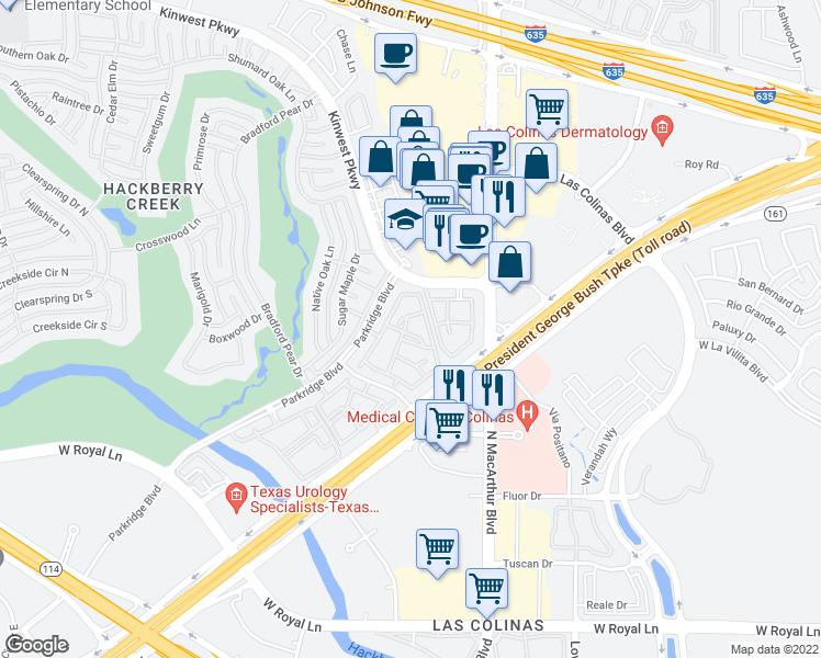 map of restaurants, bars, coffee shops, grocery stores, and more near 7300 Parkridge Boulevard in Irving