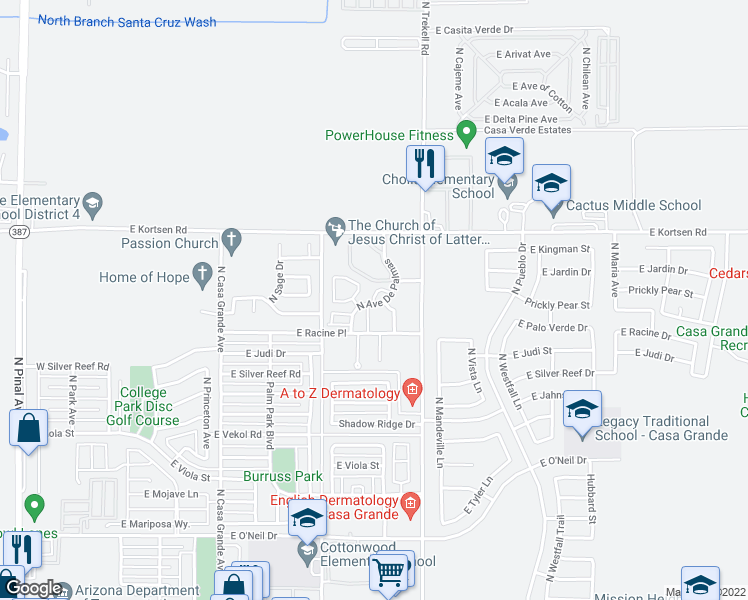 map of restaurants, bars, coffee shops, grocery stores, and more near 999 North Paseo Del Oro in Casa Grande