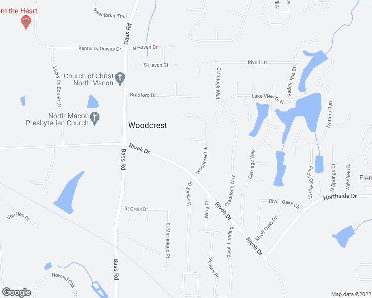 map of restaurants, bars, coffee shops, grocery stores, and more near 5469 Rivoli Drive in Macon
