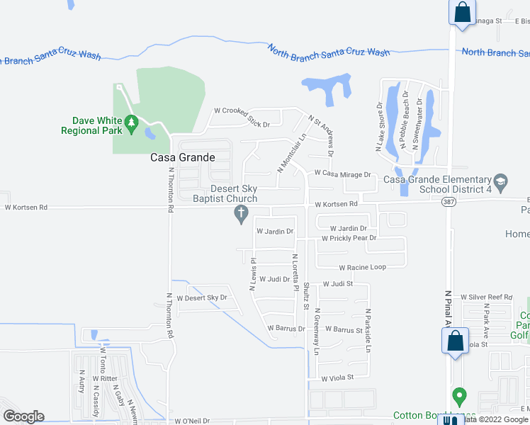 map of restaurants, bars, coffee shops, grocery stores, and more near 792 West Kingman Drive in Casa Grande