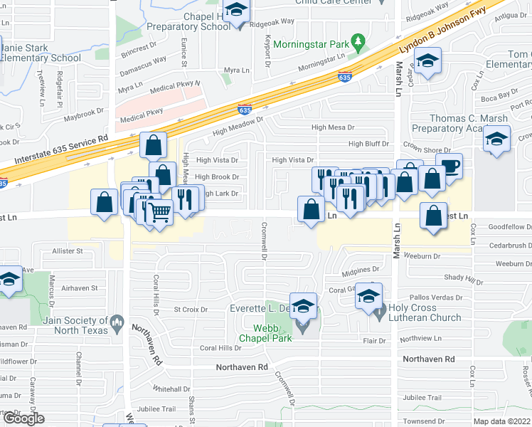map of restaurants, bars, coffee shops, grocery stores, and more near 11800-11822 Cromwell Drive in Dallas