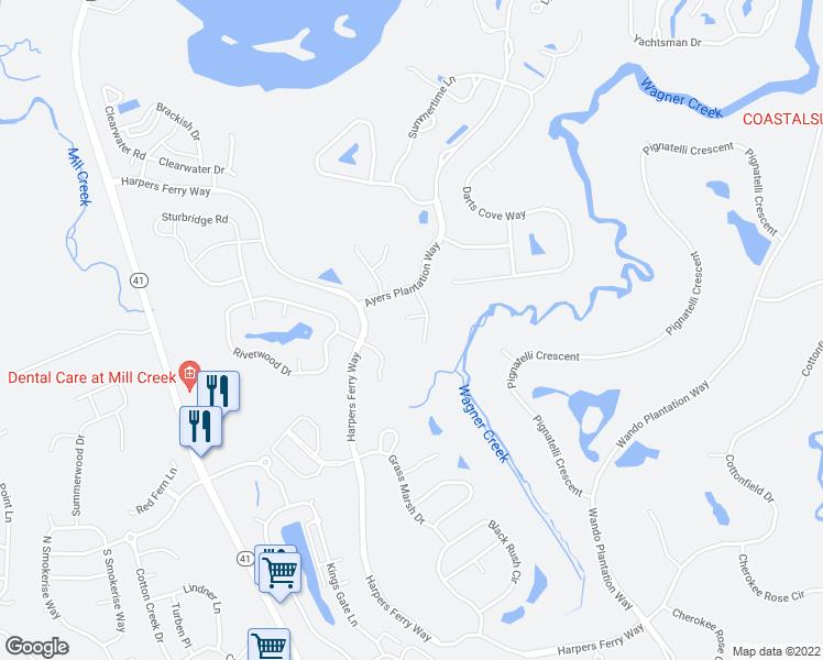 map of restaurants, bars, coffee shops, grocery stores, and more near 1045 Dunes Mill Ct in Mt Pleasant