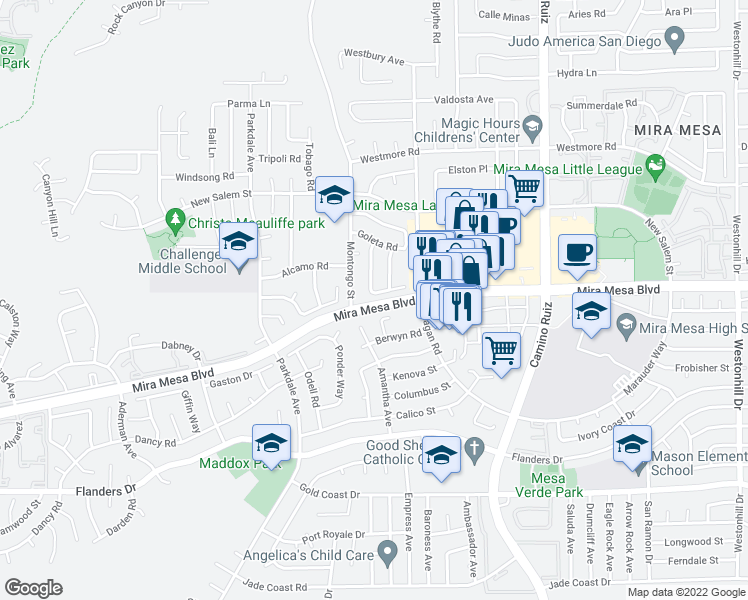 map of restaurants, bars, coffee shops, grocery stores, and more near 7927 Landon Place in San Diego