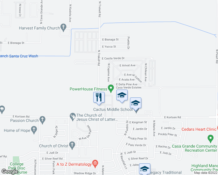 map of restaurants, bars, coffee shops, grocery stores, and more near 2100 North Trekell Road in Casa Grande