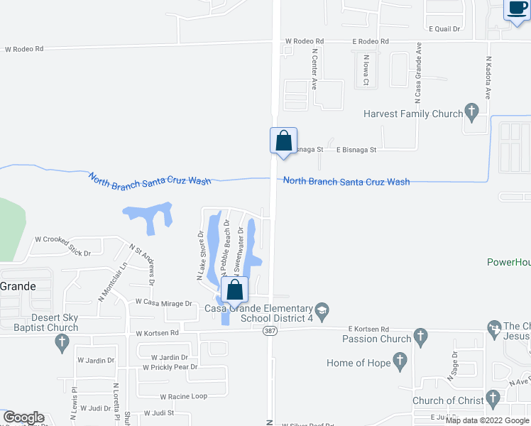 map of restaurants, bars, coffee shops, grocery stores, and more near 420 West Casa Grande Lakes Boulevard North in Casa Grande