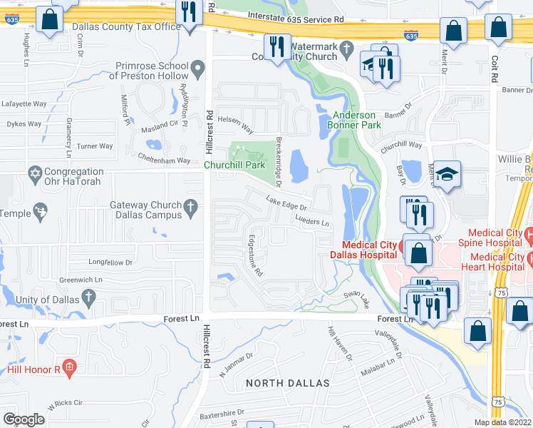 map of restaurants, bars, coffee shops, grocery stores, and more near 7030 Stone Meadow Drive in Dallas