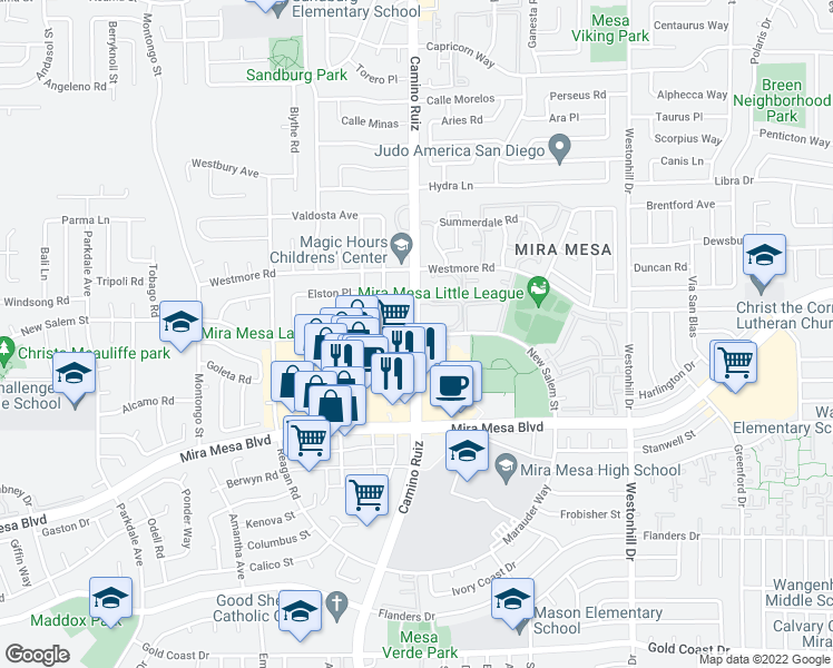 map of restaurants, bars, coffee shops, grocery stores, and more near 10802 Camino Ruiz in San Diego