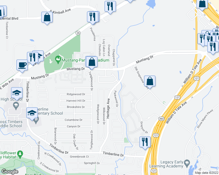 map of restaurants, bars, coffee shops, grocery stores, and more near 2704 Harmon Drive in Grapevine