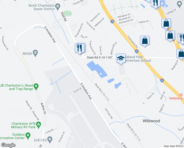 map of restaurants, bars, coffee shops, grocery stores, and more near 6838 Ward Avenue in North Charleston