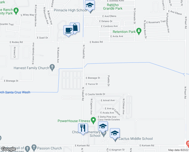 map of restaurants, bars, coffee shops, grocery stores, and more near 1118 East Bisnaga Street in Casa Grande