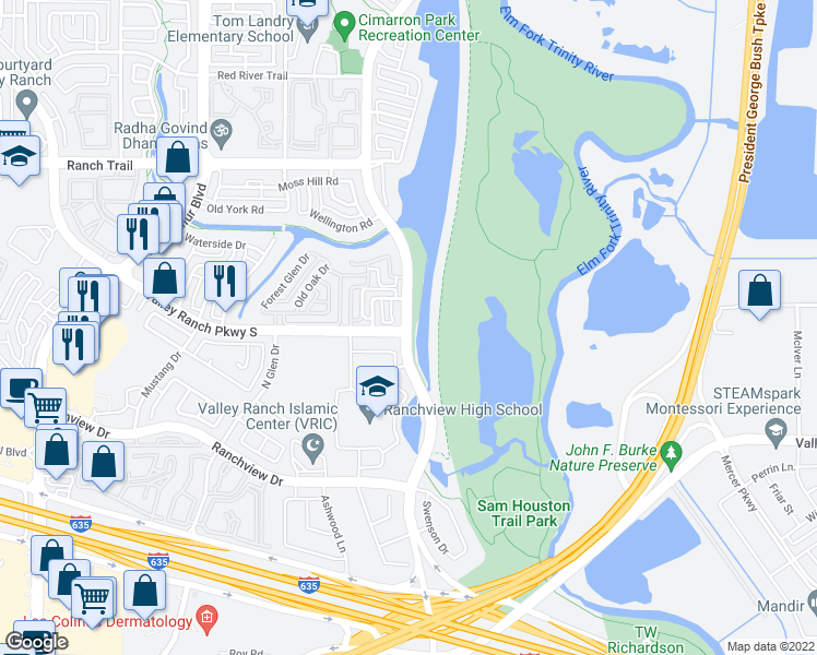 map of restaurants, bars, coffee shops, grocery stores, and more near 8524-8594 Valley Ranch Parkway East in Irving