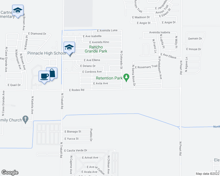 map of restaurants, bars, coffee shops, grocery stores, and more near 1262 East Rodeo Road in Casa Grande