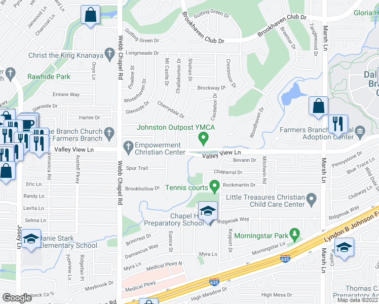 map of restaurants, bars, coffee shops, grocery stores, and more near 13207 Belfield Drive in Farmers Branch