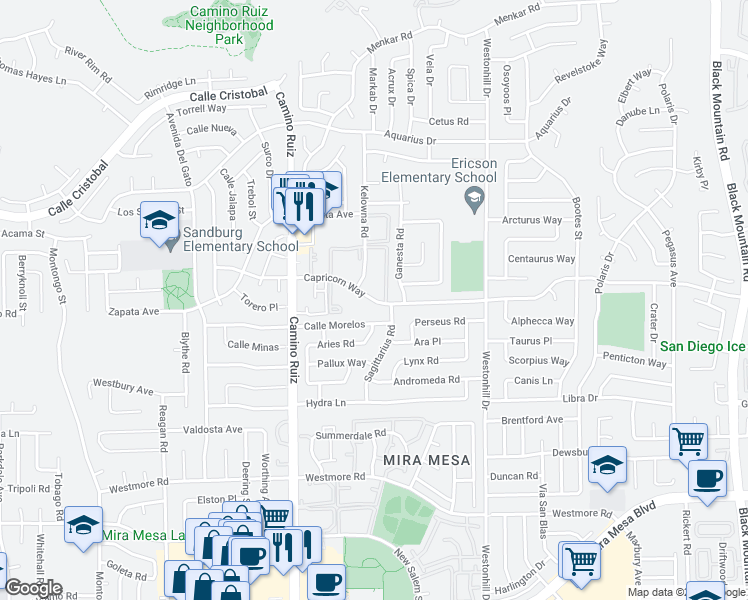 map of restaurants, bars, coffee shops, grocery stores, and more near 8478 Calle Morelos in San Diego