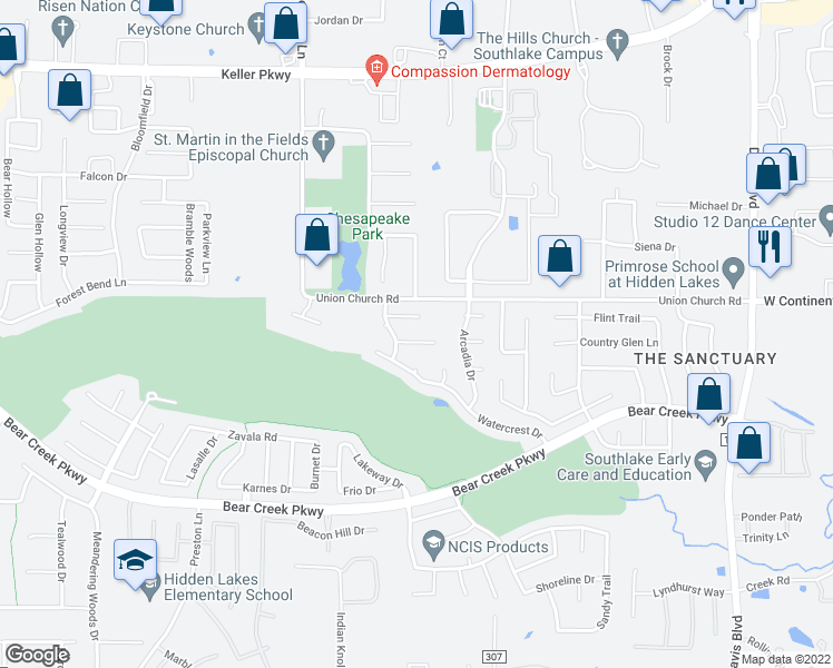 map of restaurants, bars, coffee shops, grocery stores, and more near 2215 Bayou Court in Keller